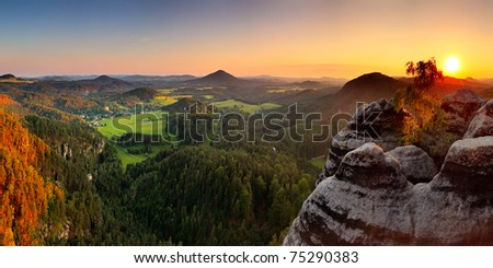 Sunset in mountain with sandstone - Saxony - stock photo