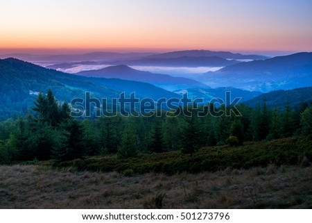 Sunset in Mountains. Beskidy Mountains in Poland. View from Gorc on Beskid Sadecki