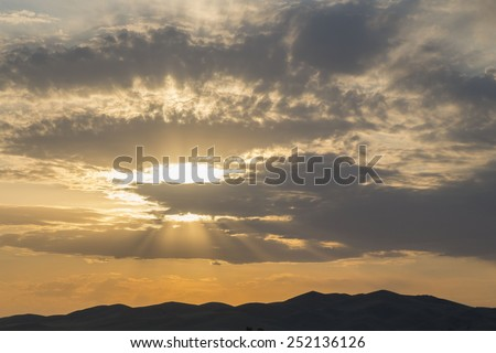 Sunset in mountains of Western Tien-Shan - stock photo