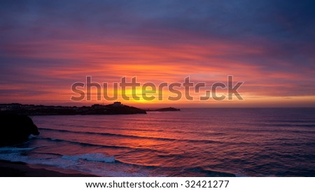 Sunset in Newquay, Cornwall, England. - stock photo