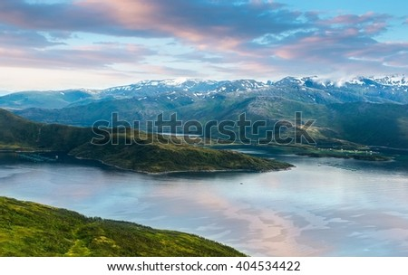 sunset in Norwey,island Senja - stock photo