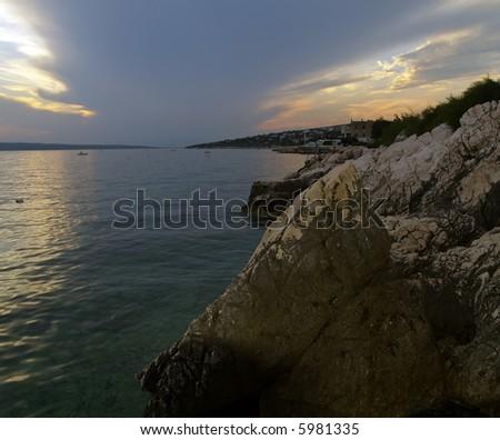Sunset in Novi Vinodolski - Croatia - stock photo
