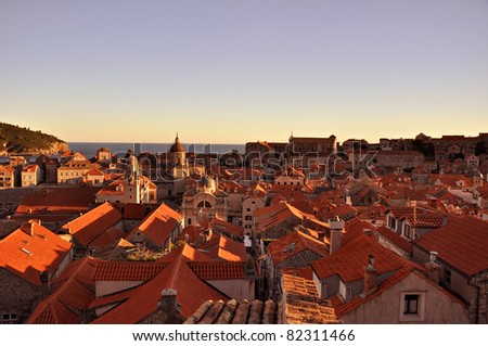 Sunset in Old Town. Dubrovnik, Croatia - stock photo