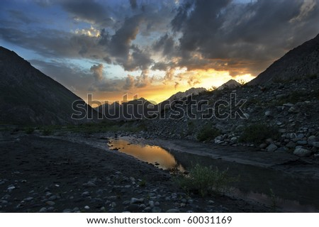 Sunset in Pamir Mountains, Tajikistan, Central Asia