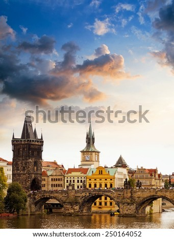Sunset in Prague - stock photo