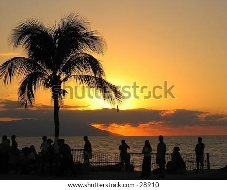 Sunset in Puerto Vallarta, Mexico - stock photo