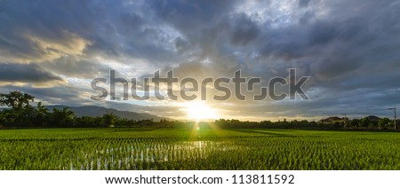 Sunset in rainy season. - stock photo