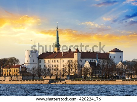Sunset in Riga, Latvia - stock photo