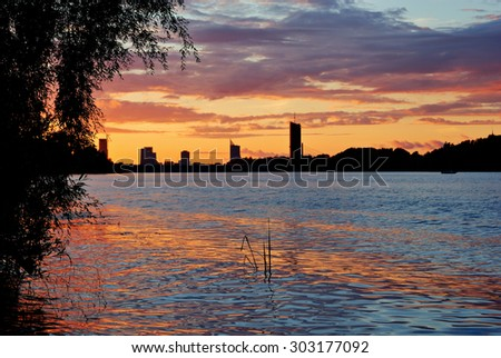 Sunset in Riga over the river Daugava, Latvia