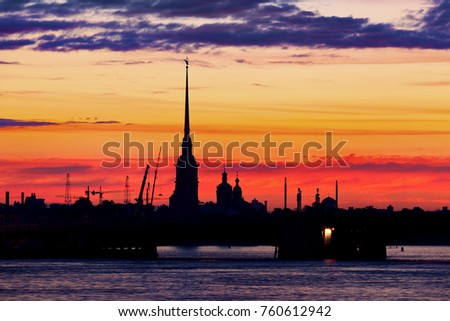 Sunset in Saint-Petersburg: silhouette of Peter and Paul's fortress