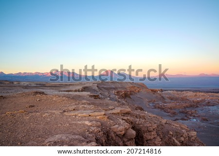 Sunset in San Pedro de Atacama with a view of Licancabur Volcano in Chile