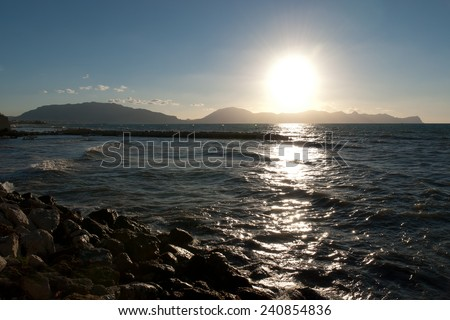 sunset in San Vito lo Capo in Sicily - stock photo