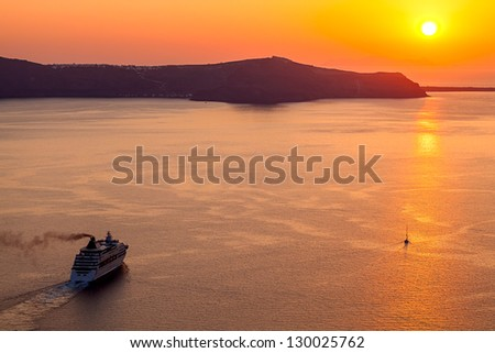 sunset in Santorini island,Greece - stock photo