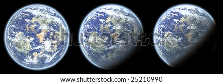 Sunset in space. Planet with deep atmosphere isolated on black. - stock photo