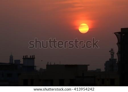 Sunset in suburban area outskirt of Dhaka Bangladesh - stock photo