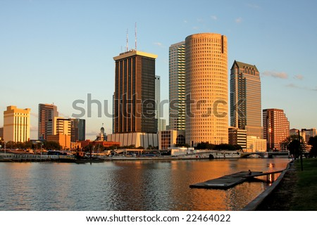 Sunset in Tampa Florida - stock photo