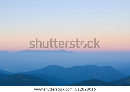 Sunset in Tatry mountains from Chopok