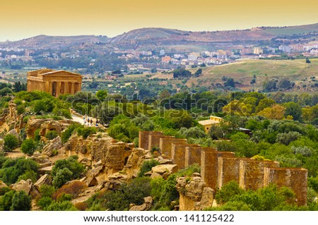 Sunset in Temple of Concordia  - Valley of the Temples, Agrigento, Sicily, Italy - stock photo