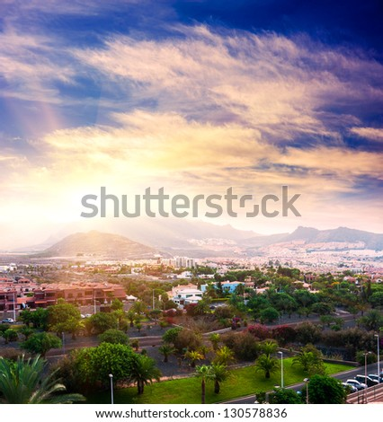 Sunset in Tenerife island, Spain. Tourist hotel Resort - stock photo