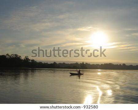 Sunset In The Amazon - stock photo