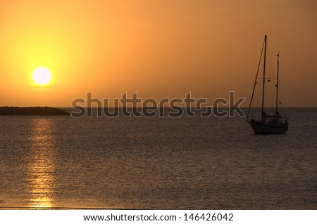 Sunset in the Bahamas - stock photo