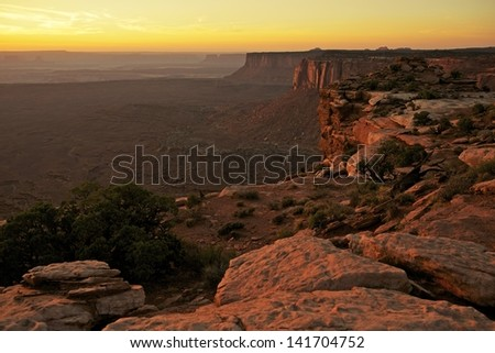 Sunset in the Canyonlands National Park, Utah, U.S.A. Beautiful Raw Utah\'s Canyonlands Scenery. Utah Photography Collection. - stock photo