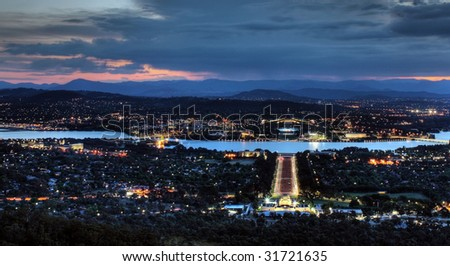 Sunset in the City of Canberra, Australia - stock photo