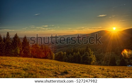 Sunset in the Giant Mountains, Czech republic