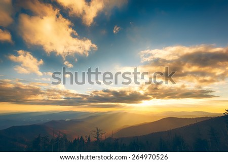 Sunset in the Great Smoky Mountains National Park in Tennessee - stock photo