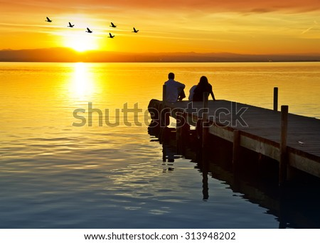 sunset in the lake - stock photo