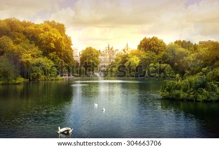 Sunset in the London park - stock photo