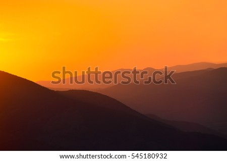 sunset in the mountains.Armenia.