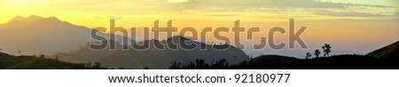Sunset in the mountains, Panorama - stock photo