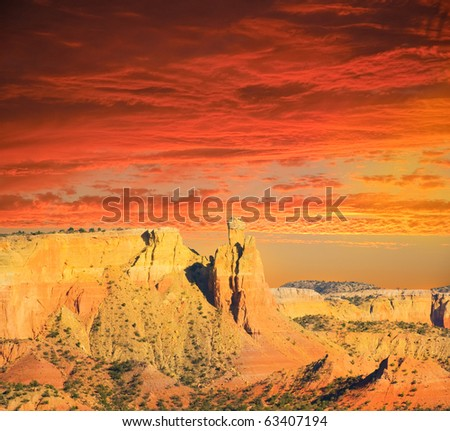 Sunset in the New Mexico Desert - stock photo