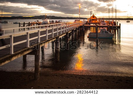 Sunset in the pier of Russell, Bay of Islands, Northland, North Island, New Zealand - stock photo