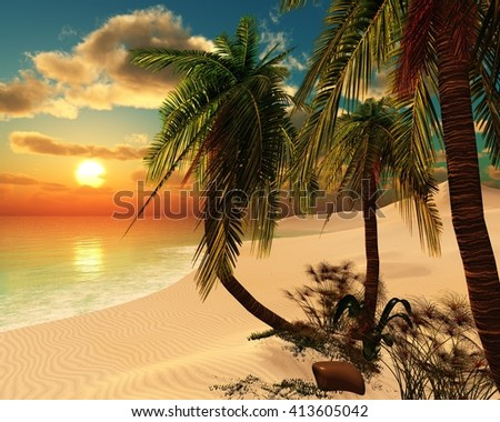 Sunset in the tropics, tropical beach, palm trees on the beach, seascape, 3D rendering - stock photo
