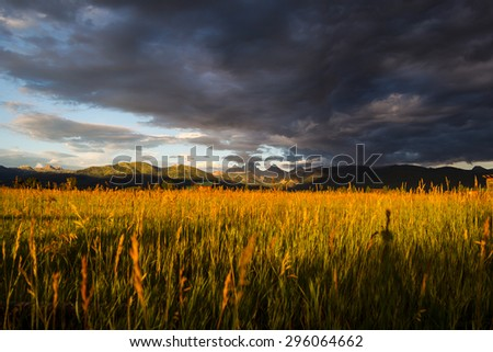 Sunset In The Valley - stock photo
