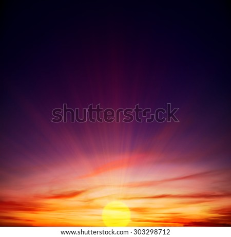 sunset in the village, in red colors for backgrounds - stock photo