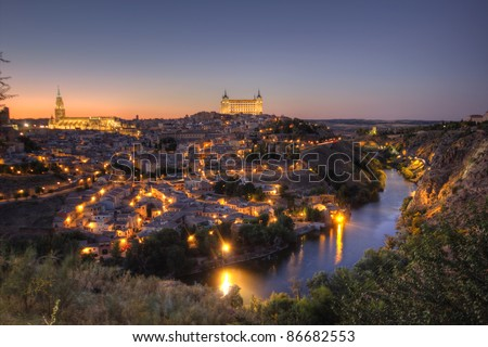 sunset in Toledo, Spain. hdr