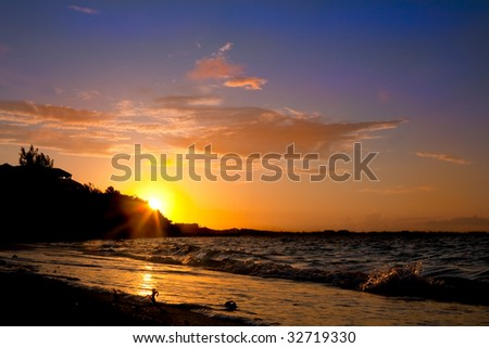 Sunset in Turks and Caicos - stock photo