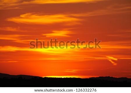 Sunset in Tuscany - stock photo