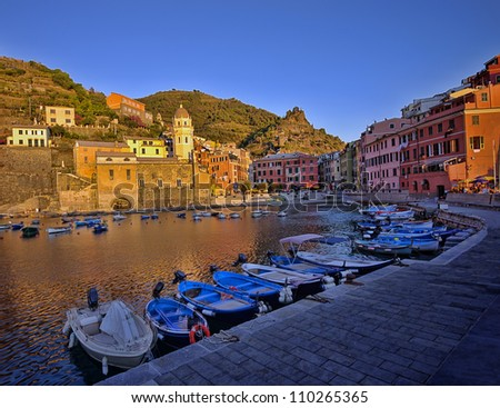 sunset in Vernazza fishing village, Cinque Terre, Italy