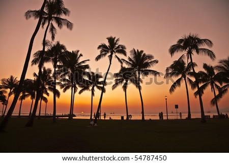 Sunset in Waikiki Hawaii - stock photo