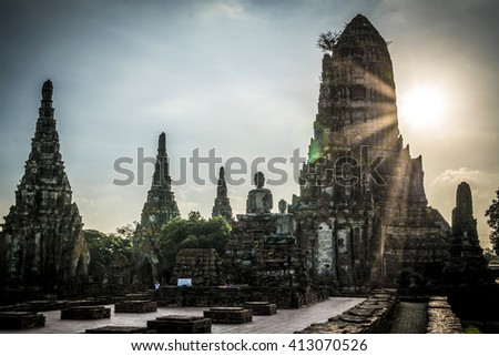Sunset in Wat Chai Watthanaram temple in Ayutthaya, Thailand