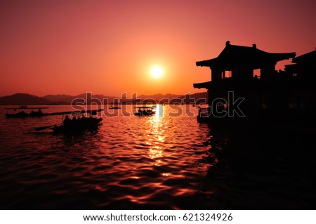 Sunset in West Lake in Hangzhou, the capital of Zhejiang province in eastern China.
