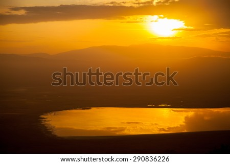 sunset in wild ngorongoro Africa - stock photo