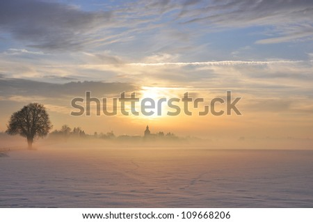 Sunset in Winter in the beautiful Bavarian Landscape