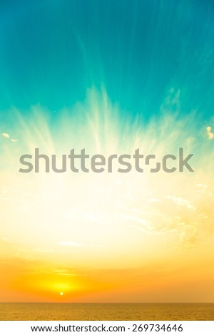 Sunset into the sky over the Mediterranean Sea. Toned. - stock photo