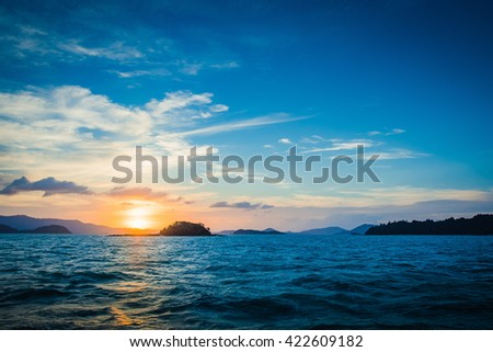 Sunset is the beauty of nature. The beautiful memories - stock photo