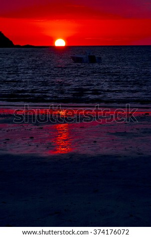 sunset  lagoon peace and coastline in madagascar nosy be